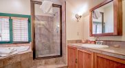 Lodge Room #1 has a JACUZZI® Tub, glass shower and generous counterspace